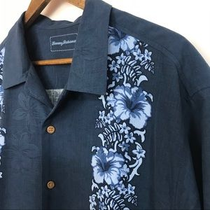 Tommy Bahama Mens 100% Silk Button Front Shirt XL